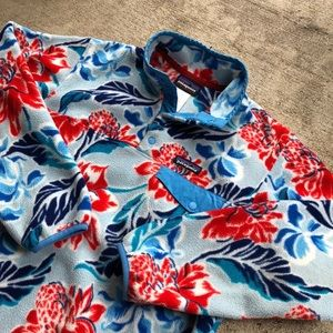 Patagonia LW Snap T pullover Small Blue Red Flower